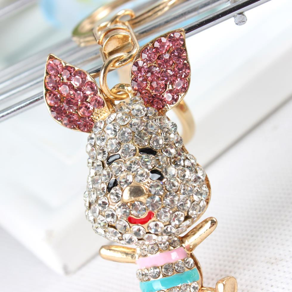 Lovely Pig Ear Keyring New Fashion Cute Rhinestone Crystal Charm Purse Bag Car Key Chain Gift Dazzlingly Beautiful Animal