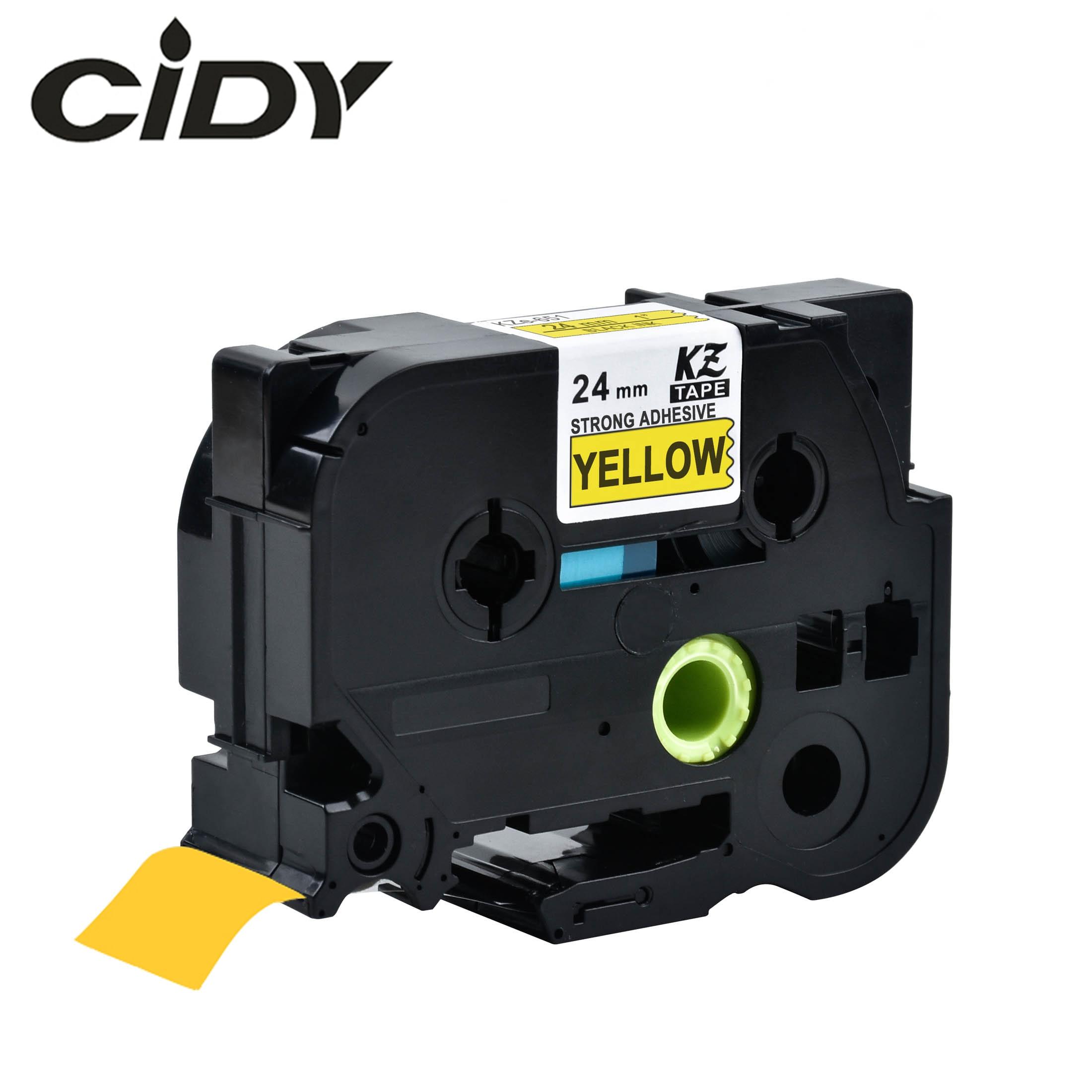 CIDY 2 stücke Kompatibel Starken Klebstoff 24mm Tze-S651 TZ-S651 Schwarz auf Gelb für Brother P-touch Label Drucker TZ S651 TZE S651