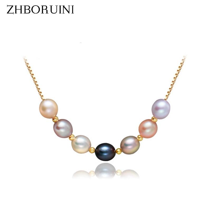ZHBORUINI 2019 Perlenschmuck Natürliche Süßwasserperlen Mehrfarben Perlenkette Anhänger 925 Sterling Silber Schmuck Für Frauen