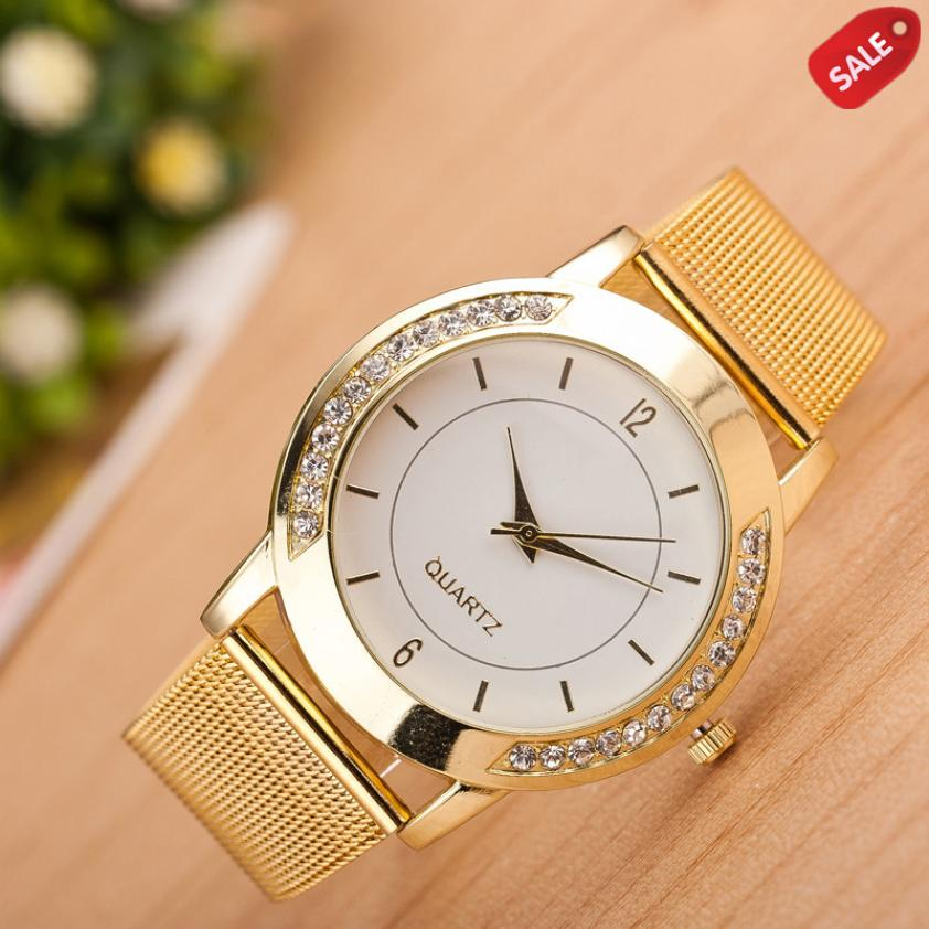 Relogio Feminino Fashion Women Crystal Golden Stainless Steel Analog Quartz Wrist Watch Bracelet Dropshipping Gift AUGUST17 smileomg hot sale fashion women crystal stainless steel analog quartz wrist watch bracelet free shipping christmas gift sep 5 page 5