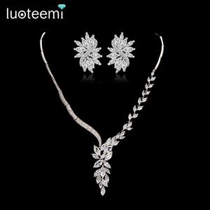 LUOTEEMI Luxury White Gold-Color Marquise Cut AAA Cubic Zirconia Women Necklace and Earrings Jewelry Sets for Wedding Accessory