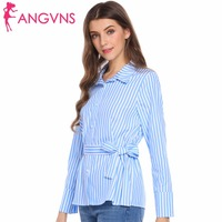 ANGVNS Striped Blouse Women Shirt Long Sleeve Solid Casual Loose Fitness Button Turn Down Collar Shirt
