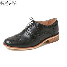 XiuNingYan Woman Cow Leather Oxford Flats Shoes US Size 11.5 Designer Vintage Black White Handmade 2017 Oxford Shoes for Women
