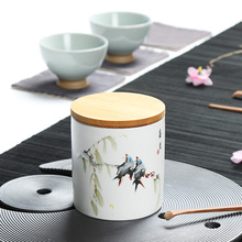 цена на Handpainted Travel Mini Ceramic Tea Caddy Hand Made Portable Tea Set High Quality Sealed Jar With Bamboo Lid Pu Er Tea Storage