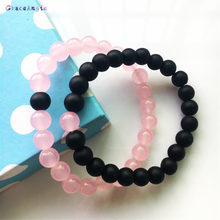 GraceAngie 1 Pair Charms Women Pink Beads Bracelet Black Frosted Stone Handmade Men Rope Chain Bangle Unisex Decorate Jewelry(China)