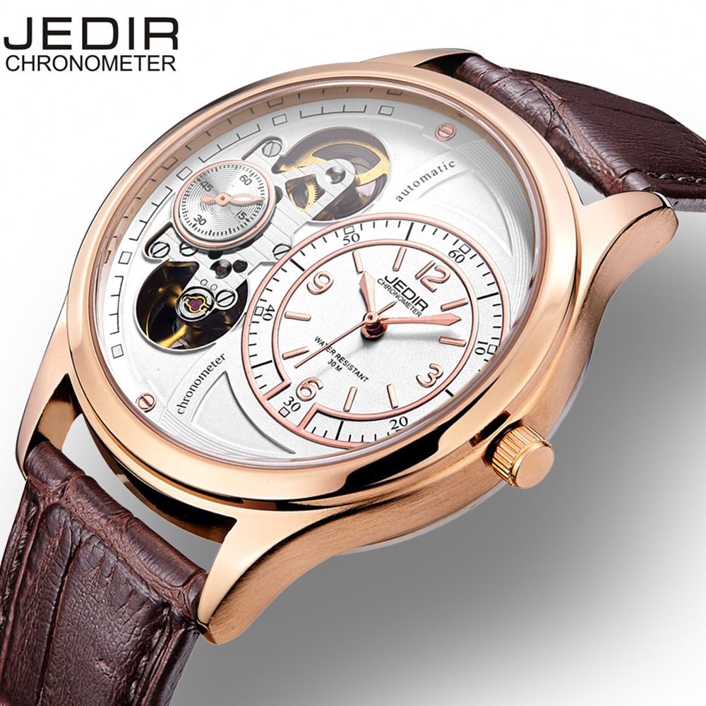 JEDIR Business Men Watch Stopwatch Hollow Dial Automatic Mechanical Movement Hardlex Glass Mirror  Buckle Wristwatch Male HourJEDIR Business Men Watch Stopwatch Hollow Dial Automatic Mechanical Movement Hardlex Glass Mirror  Buckle Wristwatch Male Hour