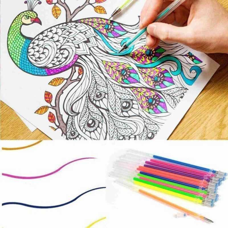 24/48 adet/lot Parti Floresan Jel Kalem Yedekler Çok renkli suluboya fırçası Kalem Yedekler Için Renkli Resim Sergisi Hediye