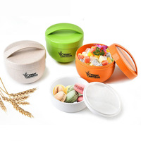 Hot Sale 800mL Round Wheat Fiber Lunchbox Portable Eco Friendly Healthy Food Container Tote Lunch Bento