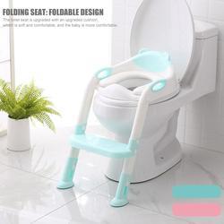 2 colores inodoro plegable para niños, asiento de entrenamiento para bebé, orinal con escalera ajustable antideslizante sólida para bebé formación de asiento