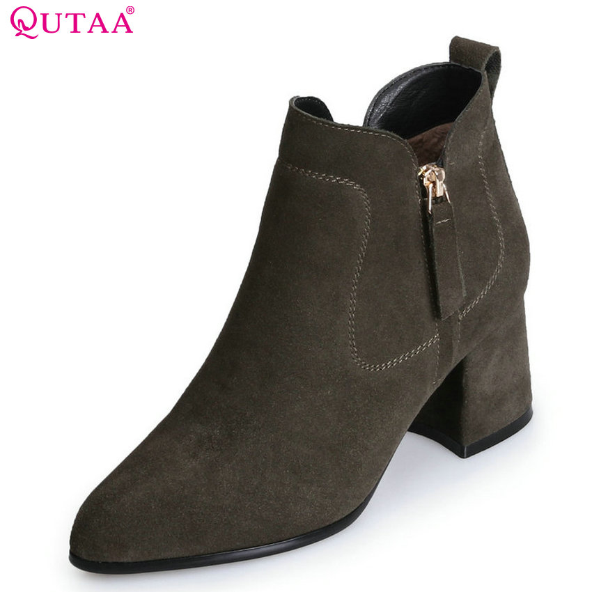 QUTAA 2018 Women Ankle Boots Cow Suede Fashion Zipper High Quality Pointed Toe Square High Heel Women Boots Size  34-39 qutaa 2018 women ankle boots cow suedezipper fashion pointed toe all match square high heel high quality women boots size 34 39