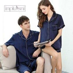 Inplusni men and women pajama sets 100% silk pyjama top quality silk for summer lovers leisurewear suit men's sleepwear (male)