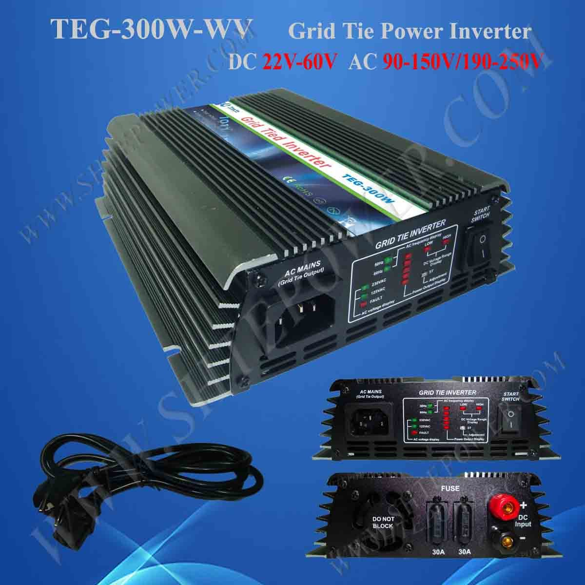 PV On Grid Inverter 22V-60VDC to 110VAC, On Grid Solar Power System Inverter with Wide Voltage 300W maylar 22 60vdc 300w dc to ac solar grid tie power inverter output 90 260vac 50hz 60hz