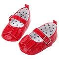 Мода Новорожденных Девочек Красный Черный Белый Патент Коляска Крещение Обувь Симпатичные Лук Пряжки Обувь Малыша