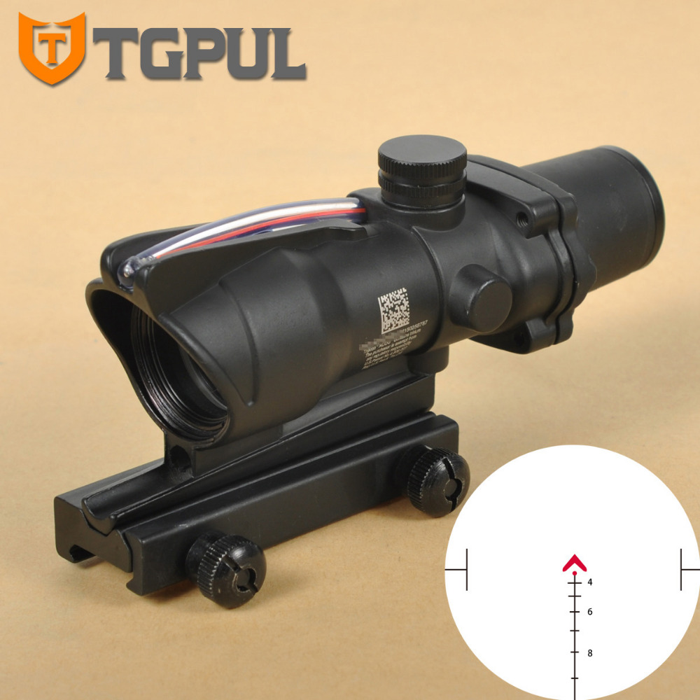 TGPUL Chevron ACOG 4X32 Riflescopes Red Green Illuminated Etched Reticle Red Dot Scope Sight Tactical Trijicon Hunting Scopes trijicon acog 4x32 red dot sight scope tactical hunting scopes real green red fiber riflescope optics for rifles