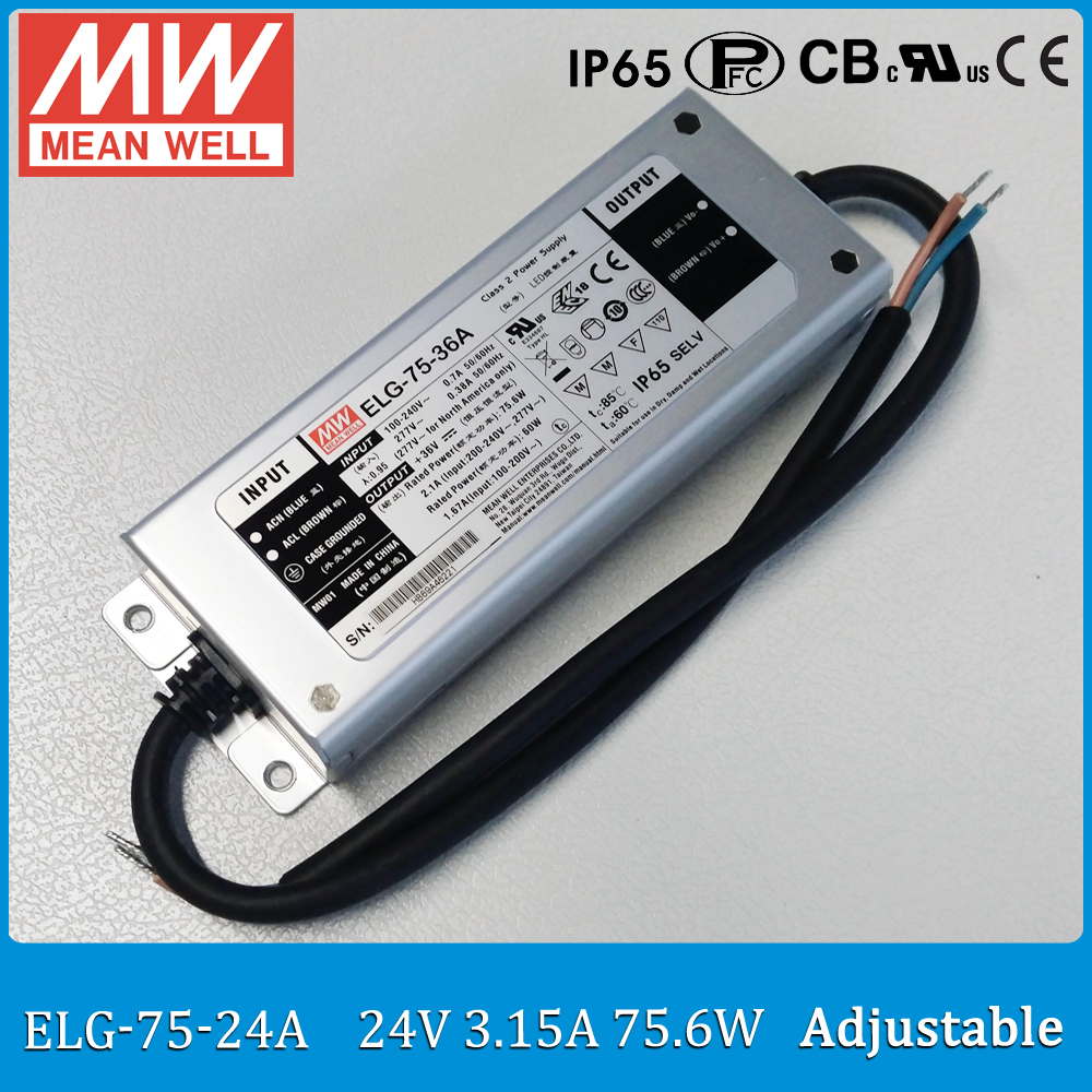 Original MEAN WELL LED driver ELG-75-24A 75W 3.15A 24V mean well adjustable Power Supply ELG-75 A type IP65 90w led driver dc40v 2 7a high power led driver for flood light street light ip65 constant current drive power supply