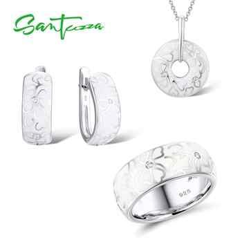 SANTUZZA Schmuck Set Für Frauen Echtes 925 Sterling Silber HANDMADE Emaille Weiß Blume CZ Ring Ohrringe Anhänger Mode Schmuck