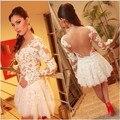 O Laço Branco curto Prom Dress Mulheres vestido de Festa de Dança Sexy Vestidos de Manga Comprida de Malha Transparente Backless Bordados Vestidos de Noite Curtos