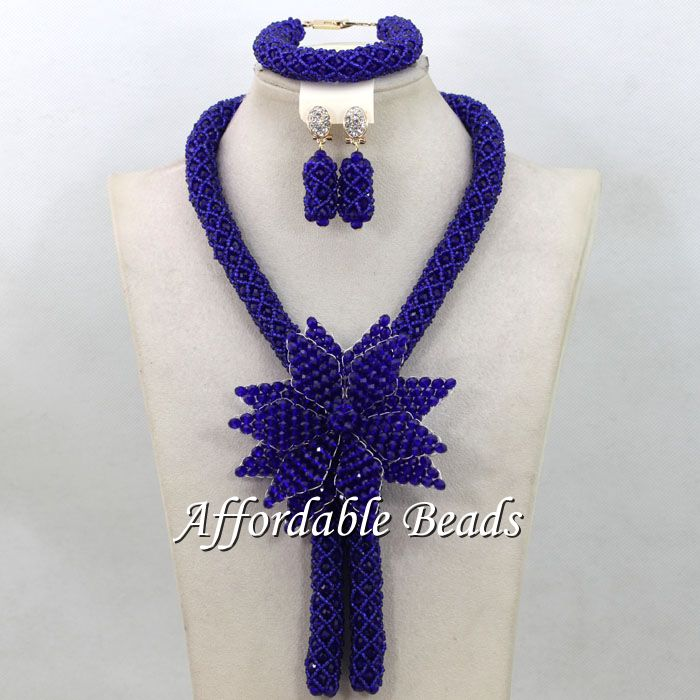 Royal Blue Party Jewelry Sets Fashional Costume Jewelry Necklace Sets Simple Design HEB055 fashional irregular goemetry joint scrawl design pillow case
