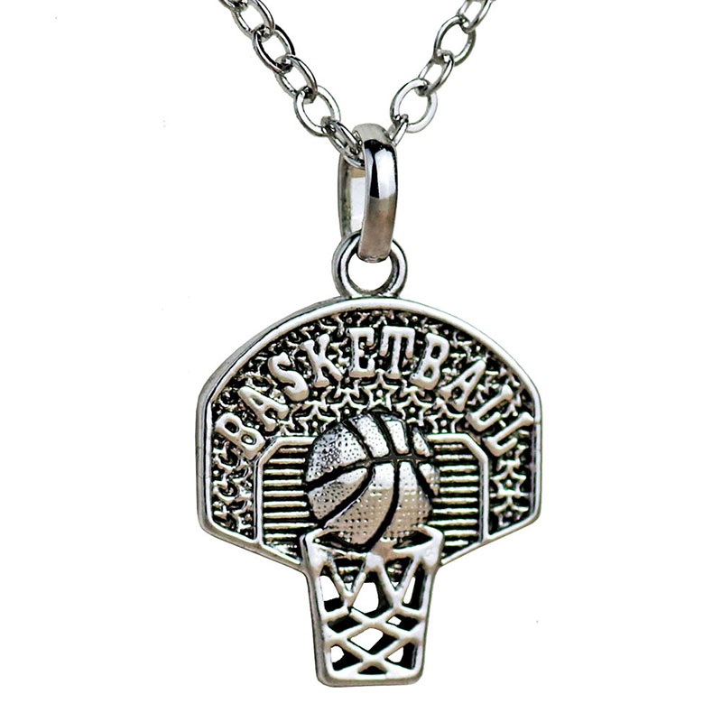 Basketball Hoop Necklace Pendant Sport Charm Antique Silver Plated Necklace Basketball Fan