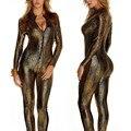 2015 женский костюм сексуальный костюм женский кожаная одежда одна часть смирительная рубашка змеиной кожи молнии упаковка королева japanned кожа
