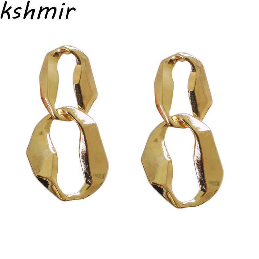 Kshmir Fashion street dance cool cool Earrings Geometric metal earrings fashion jewelry earring fine jewelry in Stud Earrings from Jewelry Accessories