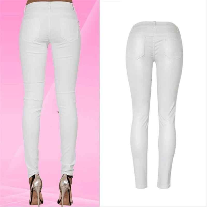 SupSindy, женские штаны из искусственной кожи, модные белые леггинсы, дикие тонкие узкие брюки на молнии, мотоциклетные кожаные штаны для женщин, брюки