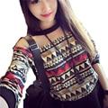 Corea de Las Mujeres Camiseta 2017 de La Moda Retro con Estampado floral de Manga Larga Camisetas Del O-cuello Tees Patchwork Loose Tops DP853922