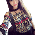 Korean Women's T-Shirt 2017 Fashion Retro Floral Print Long Sleeve T-Shirts O-Neck Loose Patchwork Tees Tops DP853922