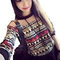 T-Shirt 2017 Da Forma das Mulheres coreanas Retro Floral Imprimir Manga Comprida T-shirt O-pescoço Patchwork Solto Tees Tops DP853922
