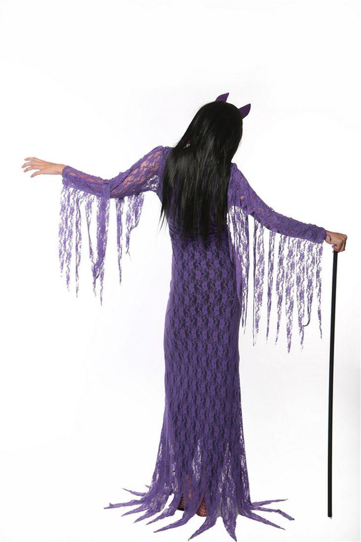 Фиолетовый ведьма длинное платье для взрослых женские пикантные Косплэй Зомби костюм Благородный Женщины платье scarey Хэллоуин Fantasia Infantil пл...