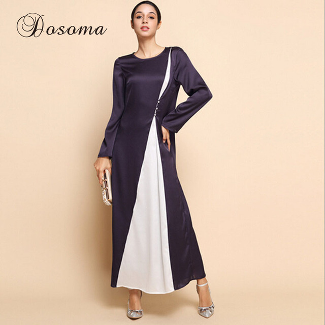 Elegant Islamic Abaya Gown Dress button Pure Silk Muslim Women Maxi ...