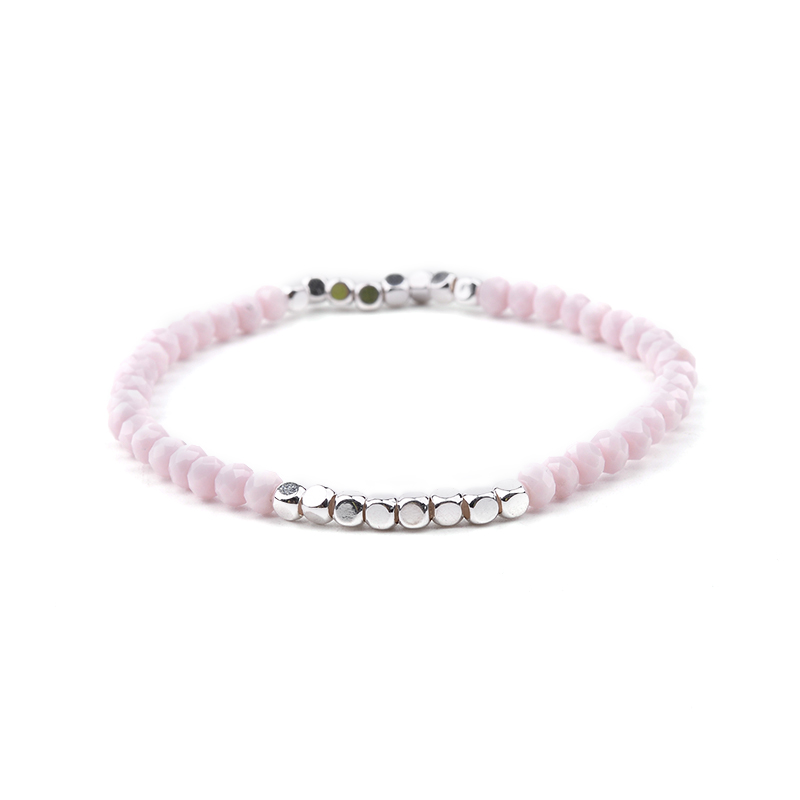 BOJIU многоцветные Кристальные браслеты для женщин золотые акриловые медные бусины розовый белый черный серый женский браслет с кристаллами BC226 - Окраска металла: 11-Light Purple