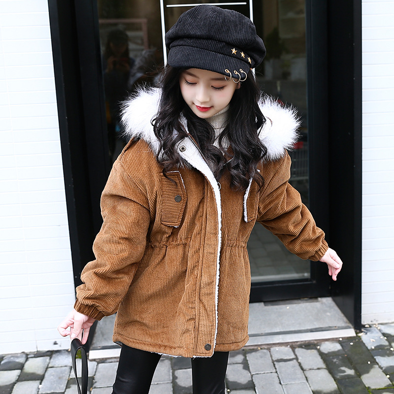 1fef40087 Thick Winter Children Warm Corduroy Outerwear Girls jacket Kids Faux Fur  Collar Hooded Padded Coat Girl Clothes 6 8 10 12 14 Y - aliexpress.com -  imall.com