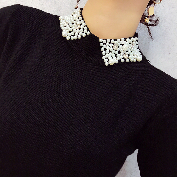 ALPHALMODA 18 Summer Ladies Short-sleeved Pearl Collar Pullovers Casual Slim Knit Sweater Women Studded Fashion Jumpers 9