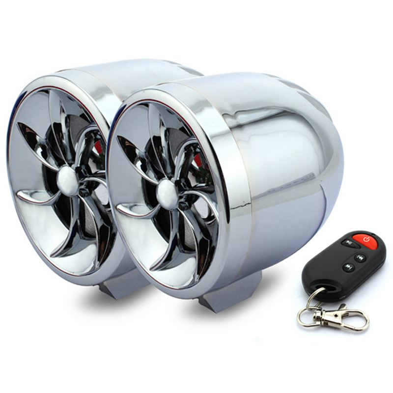 2pcs Waterproof Motorcycle MP3 Audio Speaker FM AUX Anti-theft Protection Music Player Speaker