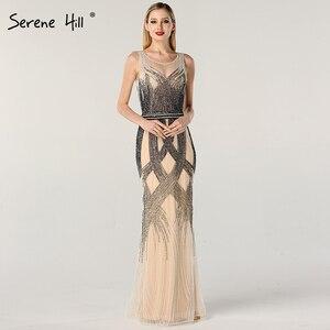 Image 1 - Dubai Latest Design Blue Gold Sleeveless Evening Dresses 2020 Beading Sequined Luxury Evening Dress Long Real Photo LA60783