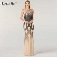 Dubai dernière conception bleu or robes de soirée sans manches 2020 perles paillettes luxe robe de soirée longue vraie Photo LA60783