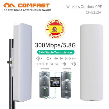 2pcs 3-5KM waterproof outdoor wifi CPE 5.8G 300Mbps WIFI Range Extender WIFI Repeater WiFi Bridge Access Point AP Router antenna 3 5km long distance 300mbps outdoor wifi router cpe 2 14dbi wifi antenna high power 5ghz wifi repeater rj45 poe wireless bridge