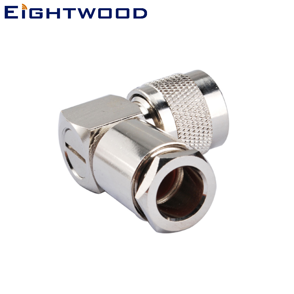 Eightwood N Male Clamp Right Angle Connector for RG213/RG8/LMR400 Cable (5PCS)
