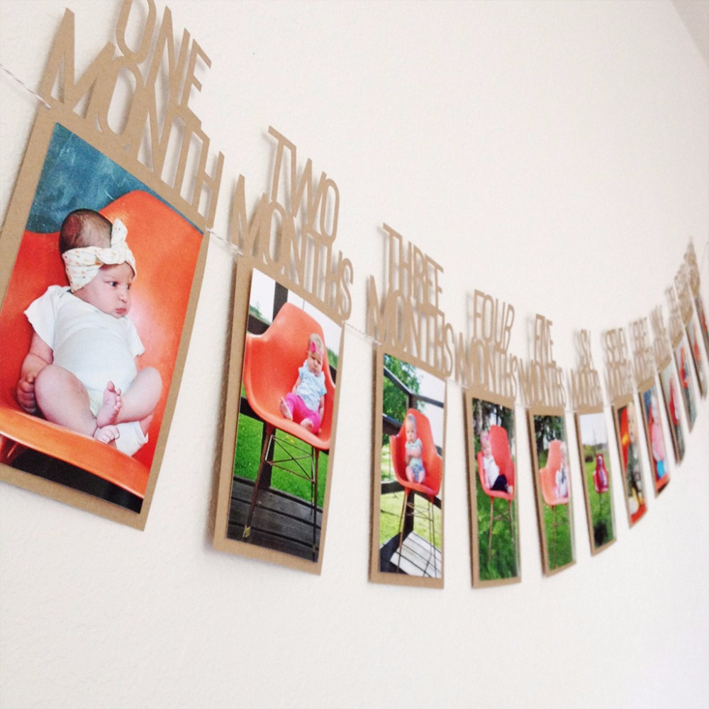 1-12Months Baby Banner Home Hanging Decoration for Baby/'s 1st Birthday Party 1pc