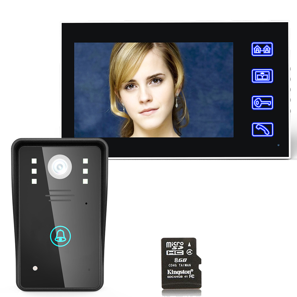 7 Recording Video Door Phone Intercom Doorbell With 8G TF Card Touch Button Remote Unlock Night