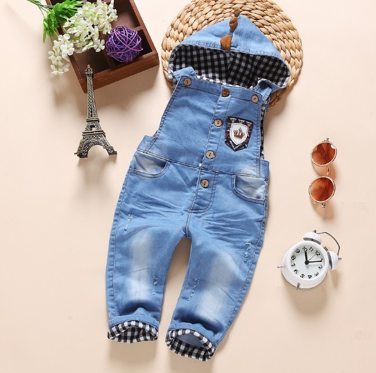 1-2.5Y new 2016 autumn girls boys denim overall with hood baby girl jeans pant boys overalls children clothing