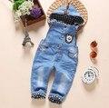 1-2.5Y novo 2016 outono meninas meninos denim geral com capuz bebê menina calça jeans meninos macacão crianças roupas