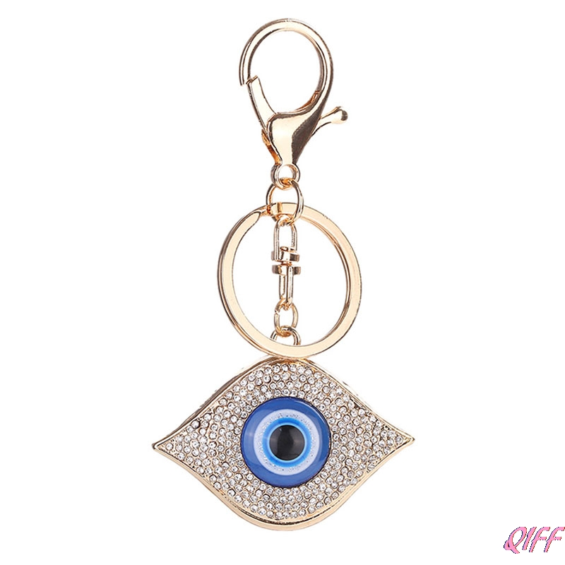 Turkish Blue Evil Eye Rhinestone Pendant Amulet Keyring Purse Bag Key Chain Gift Jewelry & Accessories