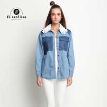 Jeans Blouse Women 2017 High Quality Cotton Blouses With White Lace Neck Blouse