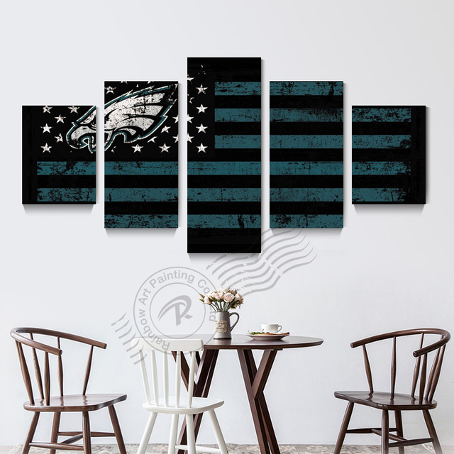 5 Panel Philadelphia Eagles New Eagle Sports Team Wall Painting Home Decor Picture For Living