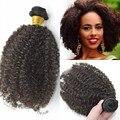 Brasileño afro rizada rizada virginal brasileña del pelo bundles 1 unid 100% de la virgen rizada 8A pelo virginal barato 3c / 4a weavings cabello en línea