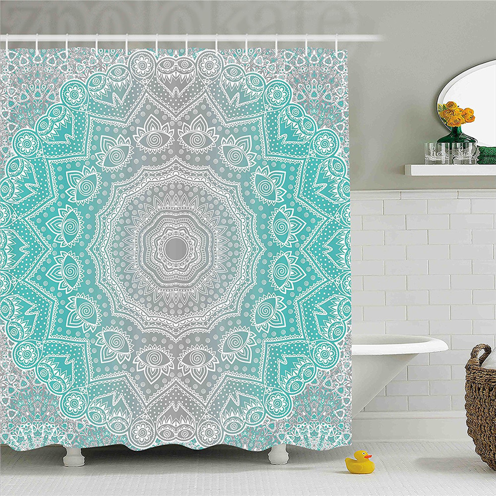 Grey and Turquoise Shower Curtain Primitive Spiritual Essence and Universe Harmony Mandala Ombre Art Bathroom Decor Set with Hoo
