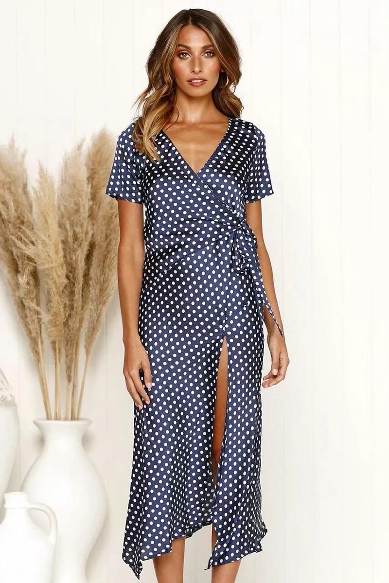 cc5e2d9fae746 Ordifree 2019 Summer Women Long Silk Dress Short Sleeve Split Sati...