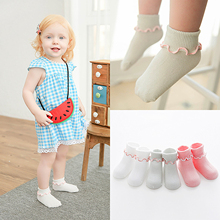 3 Pairs Cute Cotton Baby Socks Newborn Infant Girls Anti Slip Socks Solid Color